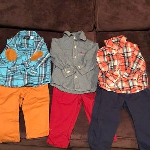 Bundle of 3 baby button downs and pants.